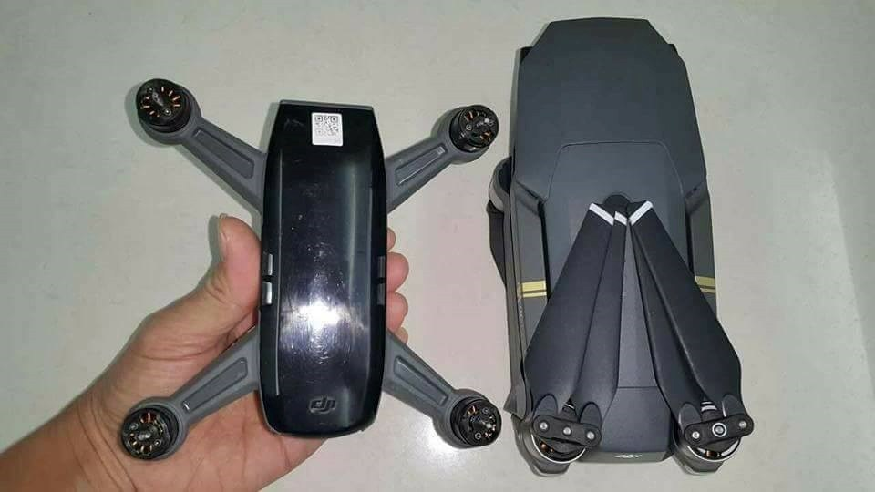 DJI Spark next to DJI Mavic Pro